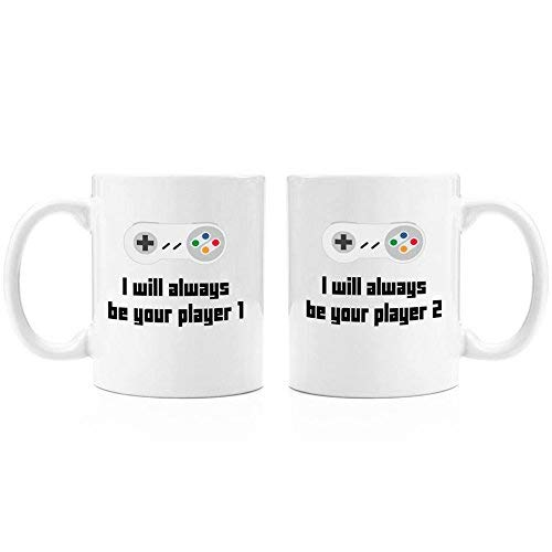 I Will Always Be Your Player 1 set of 2 mugs| 11oz Premium Coffee Mug Set - PC Gamer Gifts for men, Birthday, Joke Gamer, for Kids, for Girls, for Boys, ps4, xBox, 360, Computer, Teens, Boyfriend (360-reiniger Xbox)