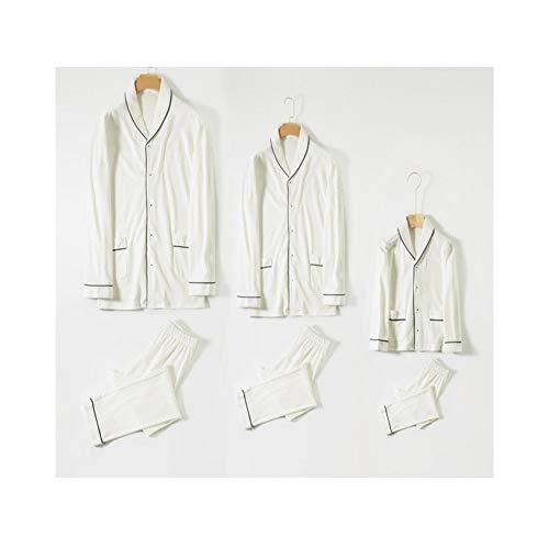 HOUYAZHAN Frühling und Herbst Baumwolle Damen Pyjama Langarm Paar einfache japanische Home Service Set Frauen (Farbe : Mens(White), Size : M) -