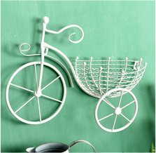 Creative Iron Basket Fahrrad, 41 cm * 32 cm * 13 cm, weiß