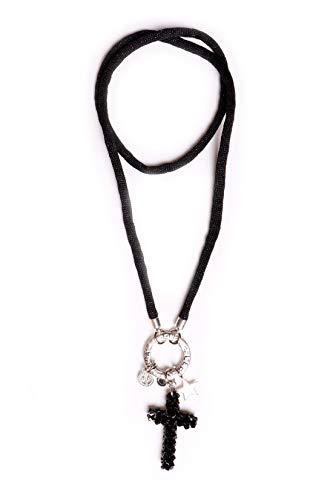 Unbekannt Grace Damen Halskette Kette Bettelkette Ring und Kreuz-Anhänger -  SilberSchwarz a2da5559c4