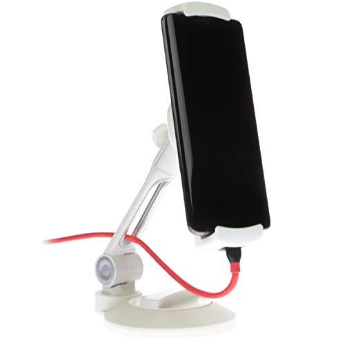 Sinland Unverselle Halterung 360° drehbar | Für Tablet, Handy, Smartphone & Kamera | Mit Saugnapf für alle glatten Oberflächen (Klein, Weiß)