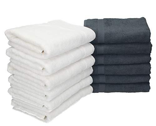 Betz 12 Stück Handtücher Palermo 100% Baumwolle Handtuch Set Größe 50 x 100 cm Farbe weiß und anthrazit -