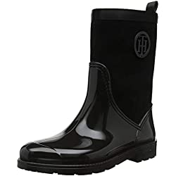 Tommy Hilfiger Warmlined Suede Rain Boot, Botas de Agua para Mujer, Negro (Black 990), 38 EU