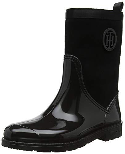 Tommy Hilfiger Damen Warmlined Suede RAIN Boot Gummistiefel Schwarz (Black 990) 39 EU