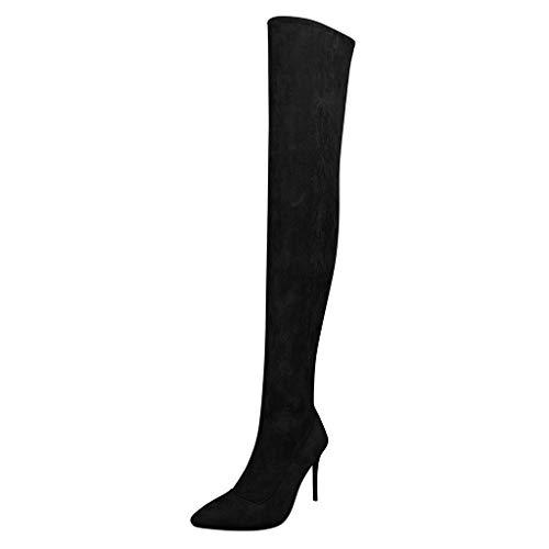 Fascino-M Stivali Alti Donna Stivali Alti con Punta a Cerniera Scarpe Calde Invernali
