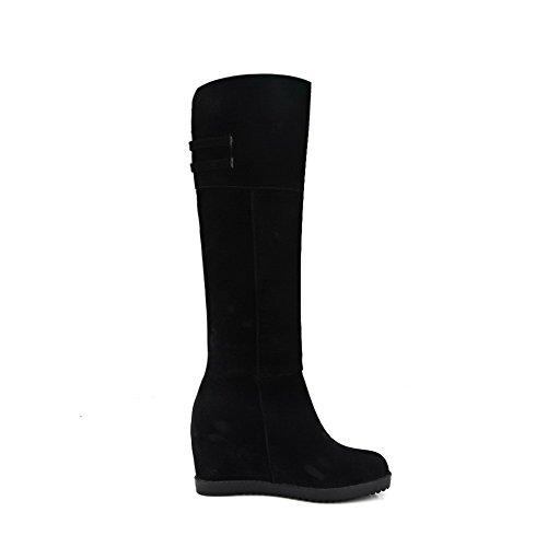 VogueZone009 Damen Ziehen auf Blend-Materialien Hoher Absatz Hoch-Spitze Stiefel, Schwarz, 34