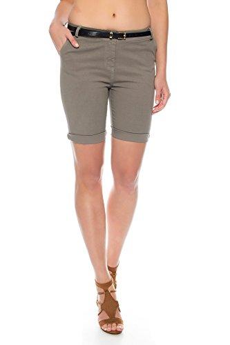 Kendindza Damen Sommer Shorts | kurze Chino Hose | Bermuda mit Gürtel (Fango, XL) (Shorts Super Kurze)