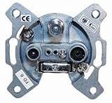 Kab24® Antennen-Durchgangsdose DIGITAL 3-fach BK+SAT DC Gleichspannungsdurchlas Sonder + Rückkanaltauglich, 10dB Anschlußdämpfung Designfähig