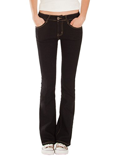Fraternel Damen Jeans Hose Bootcut normal Waist Stretch Schwarz L / 40