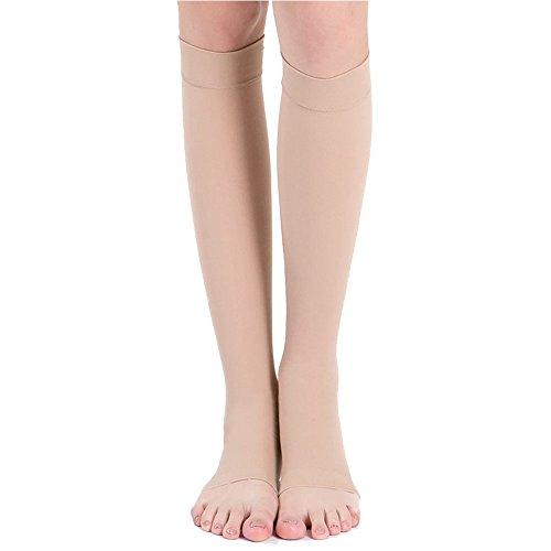 Rowentauk Männer Frauen Kleid Socken Hohe Knie Kompression Unterstützung Strümpfe Offene Zehensocken (Kleid Hoch Socken Herren-knie)