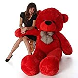 #4: BTC Soft Teddy Bear Birthday Gift For Girlfriend/Wife Happy Birthday Teddy Soft Toy 3 Feet Long Red(92cm)
