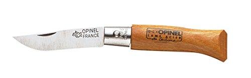 Opinel, Coltello non bloccabile con lama in acciaio al carbonio e manico in faggio, Marrone (Marron), 4 cm