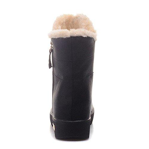 TAOFFEN Damen Beiläufig Flach Reißverschluss Knöchelriemchen Herbst-Winter Warm gefüttert Schneestiefel Schwarz
