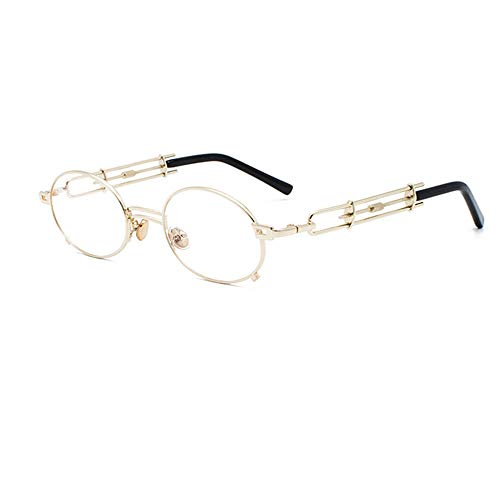 Persönlichkeit Retro Runde Steampunk Sonnenbrille für Männer und Frauen Metallrahmen Mode Hipster Brille,J.K.L