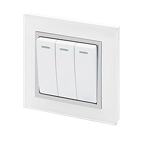 Retrotouch Crystal 3-Gang 2-Way 10A Light Switch White Glass with Chrome Trim