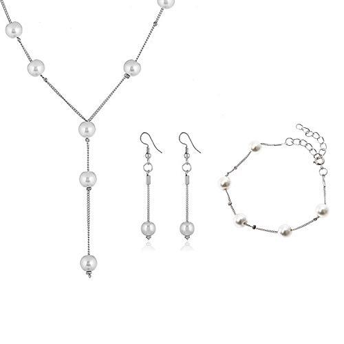 PPX Brautschmuck Wedding Bridal Hochzeit Set Schmuckset Kette Collier Necklace Armband Bracelet Ohrringe Perlen Weiß Kristall klar Transparent Silber (style 1)