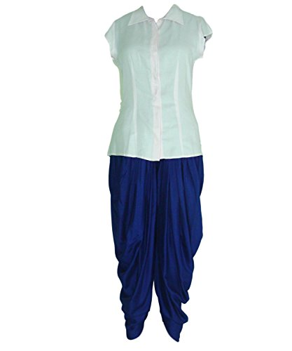 Shirt Top And Dhoti Ethnic Suits Set For Women – Cap Sleeve, Plackets, Pleated Light Pink Shirt And Royal Blue...