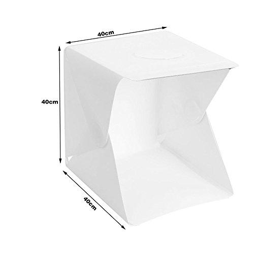 Kit Mini portatile Photography Studio Light Box con due sfondi (bianco e nero) della tenda pieghevole ha condotto la luce di 【Dream Loom】