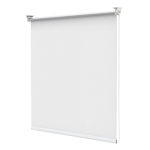 Estor opaco térmico para oscurecimiento con pinza sin taladrar para ventana - 120 x 170 cm - blanco