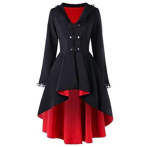 PinkLu Damen Vintage Mantel Rot Schwarz Winterjacke Lace Panel Streetwear Unregelmäßiger Smoking Langarm V-Ausschnitt Wintermantel Rückengurt Windbreaker Parka Sexy Loose Trenchcoat -