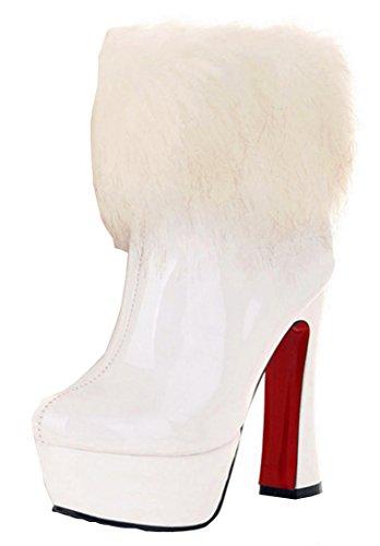 0e78afd8ca ... Schuhe Weiß. YE Damen Winter Warme High Heels Plateau Lack Stiefeletten  mit Kunstpelz 13cm Absatz Blockabsatz Wasserdicht Ankl