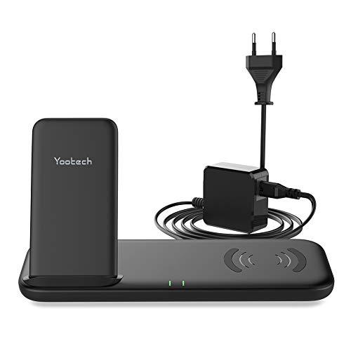 YOOTECH Dual Fast Wireless Charger mit Lüfter,10/7.5/5W Wireless induktiv Ladestation mit QC Adapter für iPhone 11/11 Pro/11 Pro Max/Xs MAX/XR/XS/X/8/8Plus,Galaxy Note 10/Note 10 Plus/S10 Plus usw.