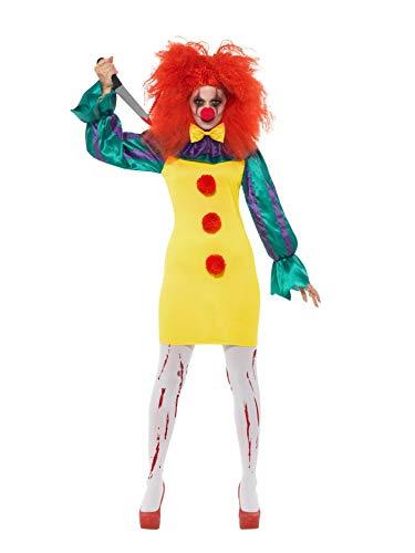 Smiffys 47563S Klassisches Horror Clown-Kostüm, Damen, mehrfarbig, S-UK Größe 08-10