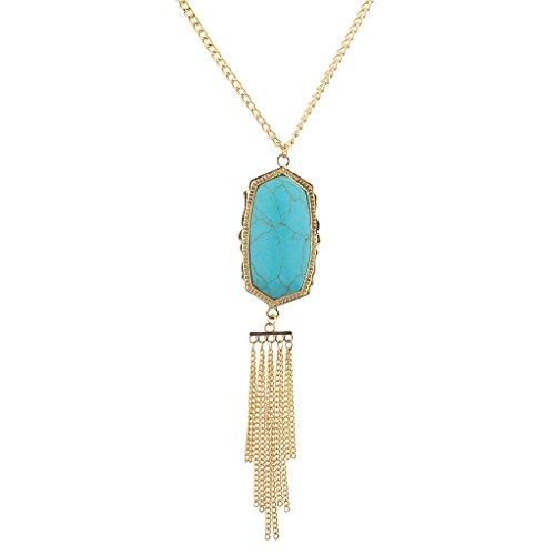 n Türkis Marmor Stein Kette Quaste lang Anhänger Halskette (Gold-ton-ketten)