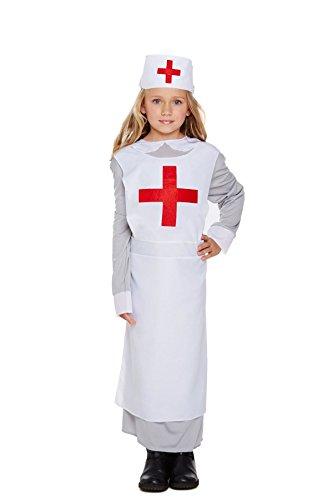 Bambini dress up Florence Nightingale Guerra Mondiale 1WW1ragazze infermiera costume White M 7-9 Anni