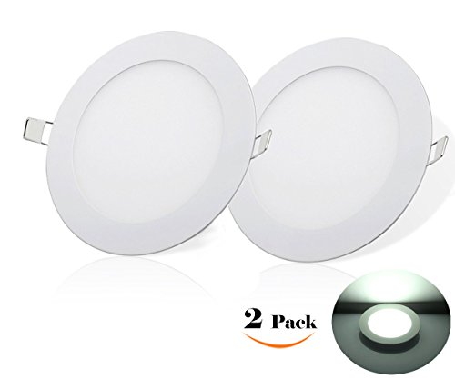 NRG Clever® RPA6CW, Packung mit 2 Stück, Deckeneinbauleuchten LED-Einbauleuchte 6W, Ultradünnem Runde durchmesser 120mm 540LM, Kalt Weiß 6500K, Enthält die Transformatoren LED-Treiber 85-265Vac