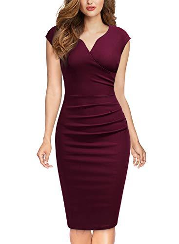 Miusol Damen Elegant Etuikleid Sommer Kleid V-Ausschnitt Caparm Vintage Businesskleid Cocktailkleider Burgund Gr.XL