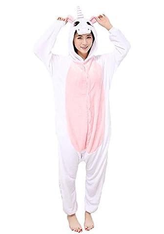Einhorn Pyjamas Jumpsuit Kostüm Tier Schlafanzug Cosplay Karneval Fasching (Einhorn, Gr. XL (für Höhe (Jumpsuit Kostüm)