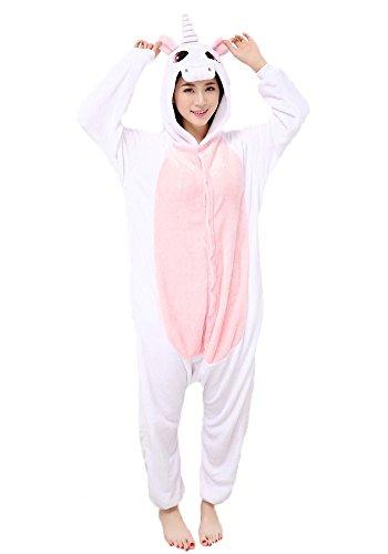 Einhorn Kostüm Pyjamas Tierkostüm Schlafanzug Verkleiden Cosplay Kostüm zum Karneval Fasching, Pink, XL: für Höhe 178-187 (Einfache Kostüme Kleidung)