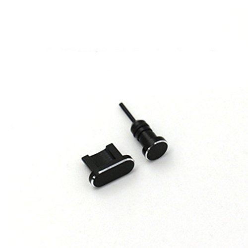 HOMEYU® Premium Aluminium Anti-Staub Stecker Micro USB Port und Kopfhöreranschluss für Android [2-Pack] (Schwarz) -