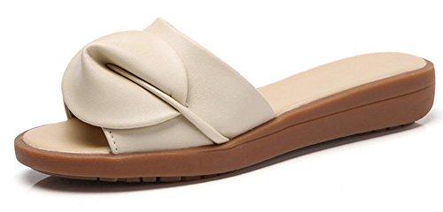 Strand Sandalen und Pantoffel weiblichen Sommer Mode Hang mit schweren Boden Schuhen ziehen Sie das Wort Beige