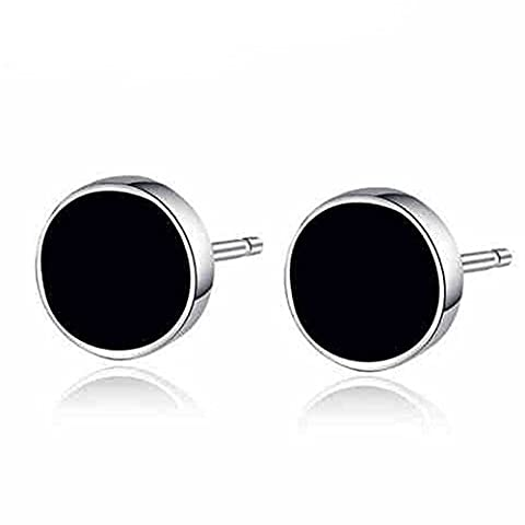 925 Sterling Silver Genuine Black Onyx Agate Round Circle Vinyl Stud Earrings,7MM