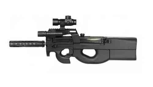Softair Well D90H Stargate P90 XXL Set mit Red Dot, Laufverlängerung und Kugelfang