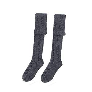 BESTOYARD Gestreifte Kniestrümpfe Überknie Strümpfe Herbst Winter Socken für Frauen Mädchen 1 Paar (Dunkelgrau)