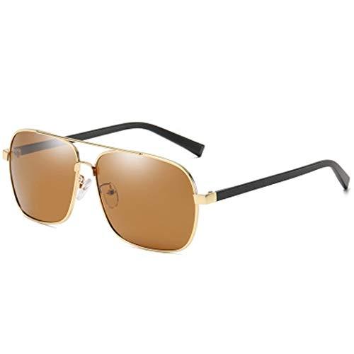 YWYU Polarisierte Sonnenbrille für Mode, 6094 Herren, eckige Brille, TR-Brillenbeine, UV400-Metall-Sonnenbrille mit Blendschutz für Fahrten im Freien (Color : D)