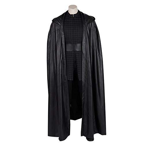 nihiug Star Wars 9 Skywalker Rise Cos Kostüm Kello Loren Kylo Ren Umhang Schließe das Cosplay ab,Black-XXXL (Kylo Ren Kostüm Details)