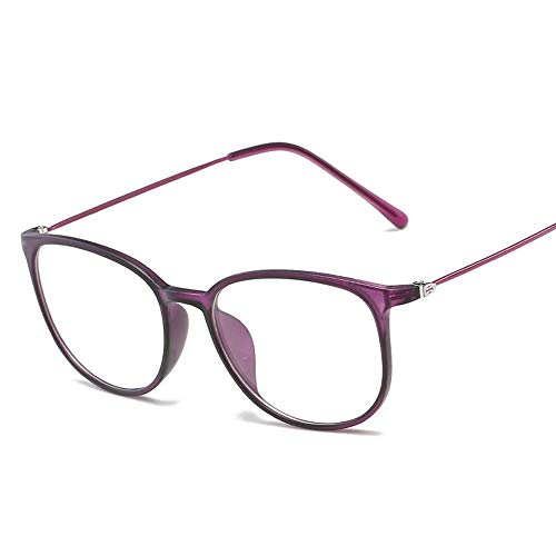 Easy Go Shopping Frame Ultralight Special Glasses Frame Plain Glasses Unisex-Brillen mit großem Rahmen Sonnenbrillen und Flacher Spiegel (Color : Lila, Size : Kostenlos)