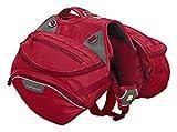 Ruffwear Strapazierfähiger Wander-Rucksack für Hunde, Inklusive 2 x 1L Wasserflasche, Mittelgroße Hunderassen, Größenverstellbar, Größe: M, Rot (Red Currant), Palisades Pack, 50202-615M