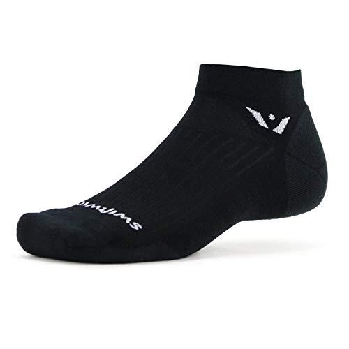 Swiftwick PURSUIT ONE Socken für Radfahren und Golf, ultimative Haltbarkeit, trockenes, schnelles Merinowolle - schwarz - Small