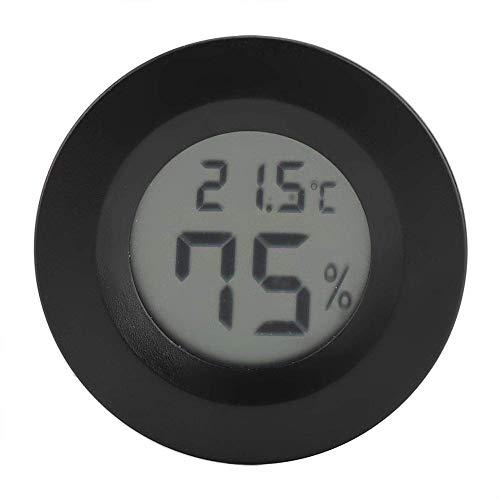 LHJCN Mini Thermometer Runde Form, Temperatur Digital LCD Monitor Innenraum Runde Luftfeuchtigkeit Temperaturanzeige für Humidore Hause Gewächshaus, Black Dial Meat Thermometer