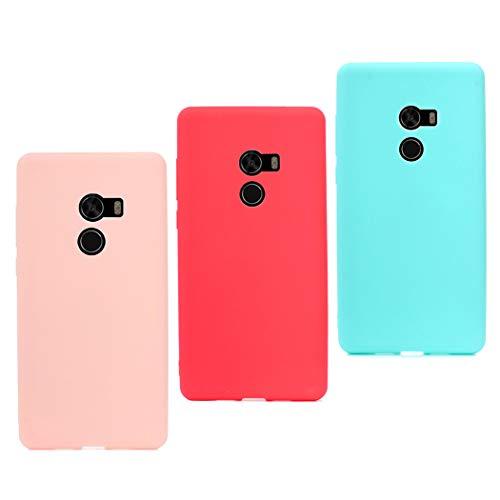 CoqueCase 3X Funda Xiaomi Mi Mix 2 Silicona Suave Flexible Antigolpes Ultrafina Goma Ultra Delgado Caso Color Protector Bumper Case Caja Tapa Carcasa Xiaomi Mi Mix 2 Rosa Rojo Verde