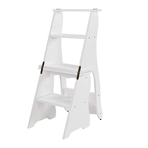 D-Z Sitzhocker Stauraumleiter Hocker/Trittleiter/Trittleiter/Klappleiter aus Holz Haushaltsleiter Tragbare Regale Regale Multifunktionshocker Weiß Vier Etagen, Schemel, a