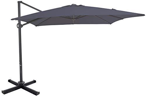 SORARA Roma | Parasol Deporte pour ombrage | Gris | Carré | Mécanisme à manivelle et Dispositif de Rotation 360 | INCL. Couverture et Base croisée