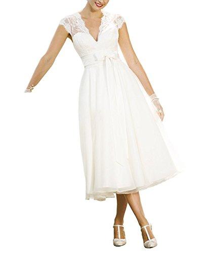 Aurora dresses Damen Hochzeitskleider Spitze V-Ausschnitt Brautkleid Teelänge...