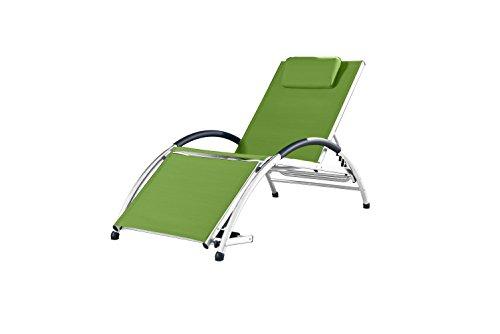 Vivere DKDSUN-GA Dockside Sun Lounger, Aluminium, Green Apple, 170 x 67 x 84 cm