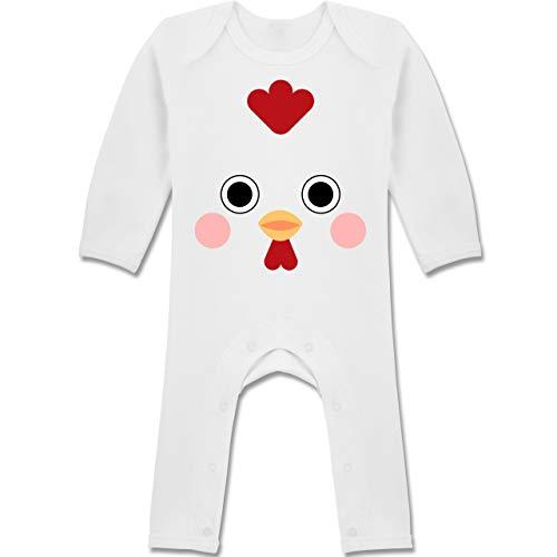 Shirtracer Karneval und Fasching Baby - Hahn Kostüm - 3-6 Monate - Weiß - BZ13 - Baby-Body Langarm für Jungen und (Baby Hahn Kostüm)